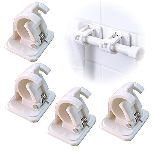 Gloryit 4 piezas Soporte de Cortina Autoadhesivo, Soportes de Soporte de Varilla sin Clavos para sujetar y fijar cortinas, cortinas de ducha, toallas y otras barras para colgar