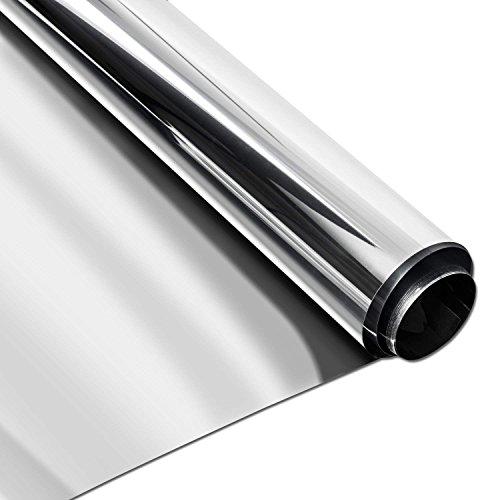 Homein Lámina de Espejo Vinilo Ventana Cristal Protector Solar Lámina Privacidad Película Espejo Adhesiva de Gran Reflexión Anti 99% UV, Anti 85% IR, para Oficina Salón 44.5 * 200cm