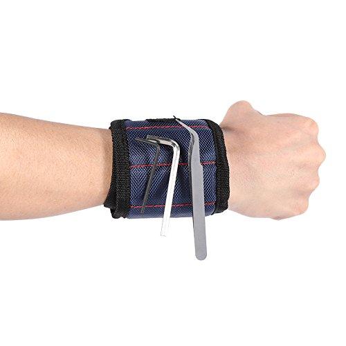 Magnetische armbanden ingebed met sterke magneten verstelbare gereedschap polsbanden voor het vasthouden van gereedschap schroeven nagels bouten strak beste tool cadeau voor doe-het-zelf liefhebber Handyman Blauw
