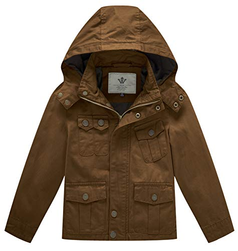 WenVen Little Boys Casual Outerwear Kids Military Active Jacket (Brown, 8 Years)
