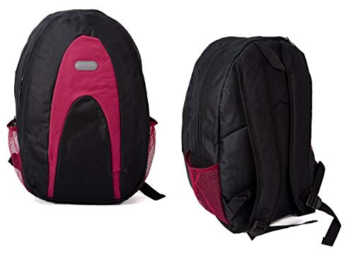 Metro Backpack Rucksack Mens Womens School Work Gym Bag with Drink Pouches (Pink)