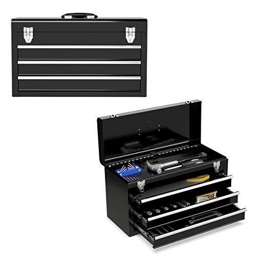 GOPLUS Werkzeugkoffer, Werkzeugkasten, Werkzeugsatz, Werkzeugkiste,Werkzeugbox, mit 3 Schubladen, Farbewahl, 520 x 215 x 300mm (Schwarz)