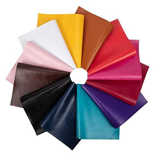 BENECREAT 12 PCS Cuero de Imitación 12 Colores Mixtos (34x20cm) Cuero Sintético Impermeable con Espalda de Lona para Fabricación de Bolsos y Artesanía