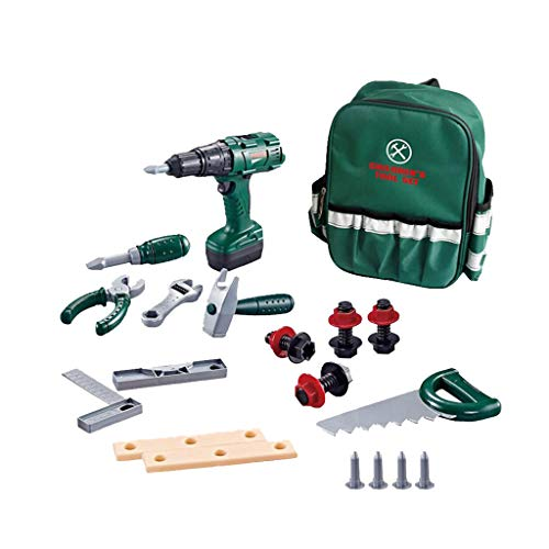 Bascar Simulation Tool Backpack Combination DIY Simulation Drill Kids Tool Electronic Battery Drill Pretend Play Construction with Tool Bag Boys Repair Tools