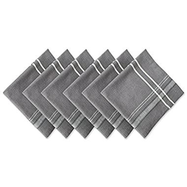 DII 100% Cotton, Oversized Basic Everyday 20x20  Napkin Set of 6, Gray Chambray French Stripe