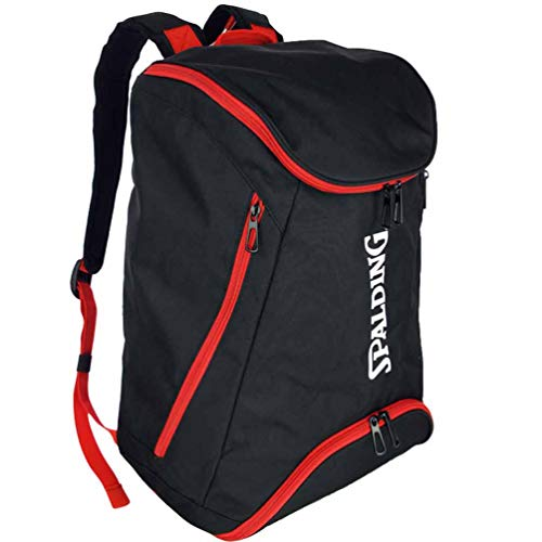 Spalding Basketball Rucksack schwarz/rot mit zusätzlichen Bodenfach + Trinkflasche