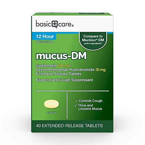 Amazon Basic Care Mucus DM, Guaifenesin and Dextromethorphan Hydrobromide Extended-Release Tablets, 600 mg/30 mg, Light Yellow, 40 Count