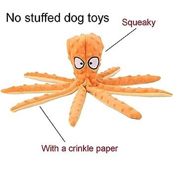 Jouets en peluche pour chien, poulpe interactif à mâcher pour chien, jouet pour animaux de compagnie sans rembourrage, avec papier froissé, pour petits, moyens et grands chiens jouant - orange