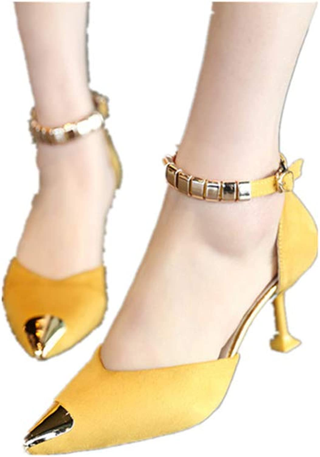 LLZY Womens Pointed Toe Ankle Strap Kitten Mid Heel Pumps Mom