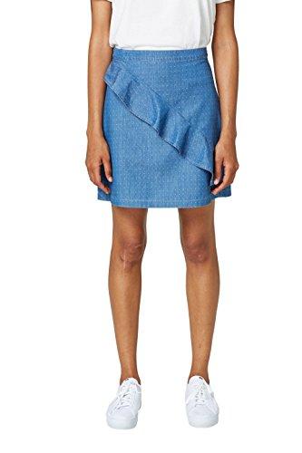 edc by ESPRIT Damen 068CC1D011 Rock, Blau (Grey Blue 420), 36