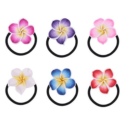 Lurrose 12pcs Plumeria Haargummis Bunte Hawaiianer Blume Haar-Seil Hawaiianer Haar-Zusätze