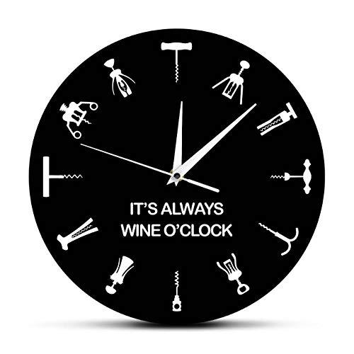 Djkaa is altijd de wandklok uit het punt voor de wijn, 12 verschillende flesopeners, symbolen, bardecoratie voor party, flessenopener, cadeau-idee voor wijnliefhebbers.