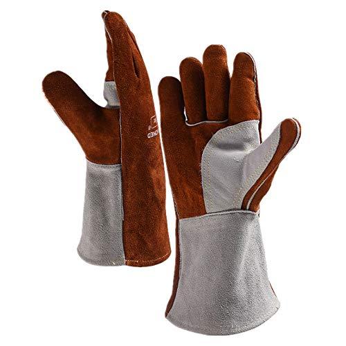 Guantes de soldadura Heat Fire Gloves MIG TIG ARC MMA Soldadura Guantes de soldadura Forja de cuero Multifunción de trabajo Multifunción de trabajo para horno Parrilla Chimenea Horno Estufa Porta olla
