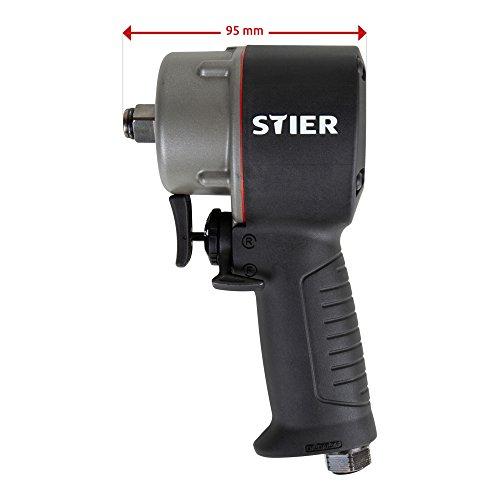 STIER Druckluft Schlagschrauber 13-MBS, Schlagschrauber, Antrieb extrem kurz 1/2 Zoll, Lösemoment von 1.275 Nm, Rechts- und Linkslauf