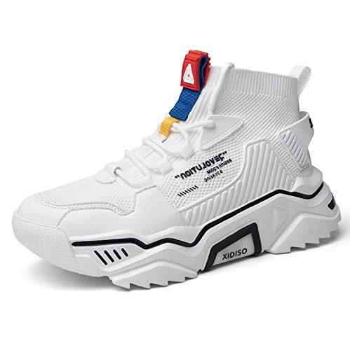 SANNAX - Zapatillas de Deporte de Moda para Hombre, de caña Alta, Estilo Informal, Blanco (Blanco), 44 EU