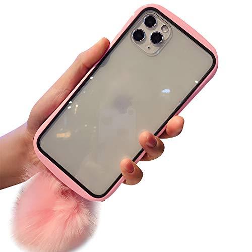 Aulzaju iPhone 11 Hülle für iPhone 11, Vorder- und Rückseite, stylisch, modisch, Hartglas mit weichem Plüschball für Mädchen und Frauen iphone 11 pro max 6.5 inch rose