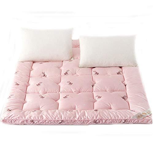 QXTT Futon Mattress,Japanese Floor Mattress Pad Thicken Tatami Mat Sleeping Foldable Roll Up Mattress Mat Breathable Durable Mattress,Pink-150 * 200cm
