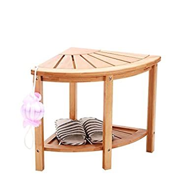 Shower Bench Stool Bamboo Mildew ProofCorner Storage with 2 Tier Large Organizer Space Perfect for Bathroom or Living Room