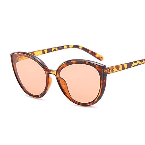 PPCLU Rosa Gato Ojo Gafas de Sol Mujeres Espejo de Moda Gafas de Sol diseñador Femenino gradiente clásico (Lenses Color : Leopard)