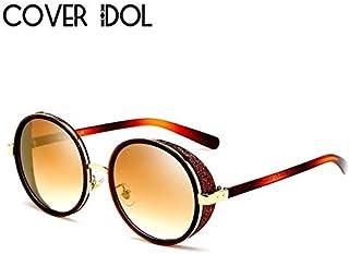 1cbaf254a Bharat Ventures Brown w Gold: Luxury Round Fashion Sunglasses Women Brand  Designer Stylish Round Woman