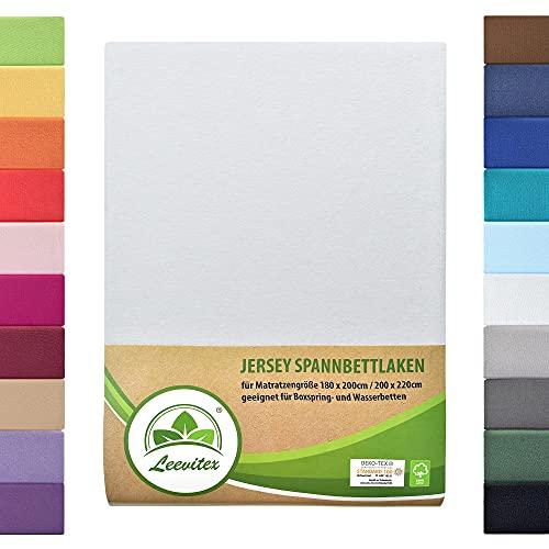 leevitex Farbenfrohes Spannbettlaken für WASSERBETTEN & BOXSPRINGBETT Spannbetttuch Jersey 200 x 220cm, 40cm Steghöhe 100% Baumwolle ca. 170 g/m² (Weiß)