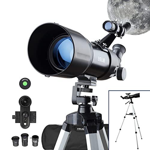 ESSLNB Teleskop Astronomie 80/400 Refraktor Teleskop für Kinder Einsteiger Erwachsene mit 10x Smartphone Adapter Ausziehbares Stativ Tasche und Mondfilter