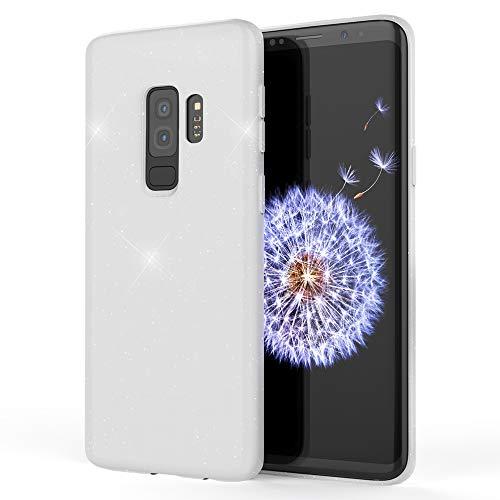 NALIA Glitter Funda Compatible con Samsung Galaxy S9 Plus, Brillante Cubierta Delgado Protectora Silicona Carcasa Slim Estuche Ultra-Fina Purpurina Movil Bumper Goma Case Gel Back-Cover, Color:Blanc