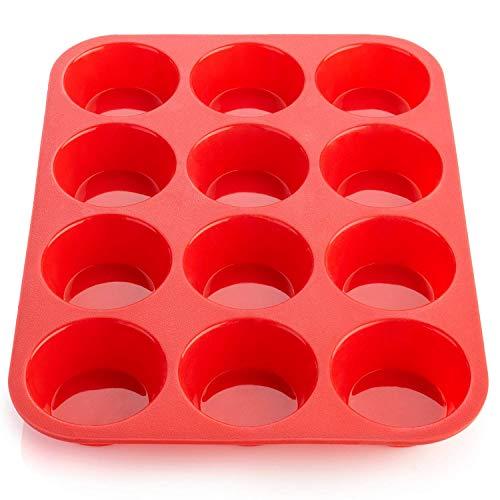 Ecoki Moule à Muffins pour 12 Muffins en Silicone - Certifié LFGB et sans BPA - Pour Muffins, Cupcakes, Brownies, Gâteaux, Pudding - Antiadhésif et Facile à Nettoyer - 2 Ans de Garantie