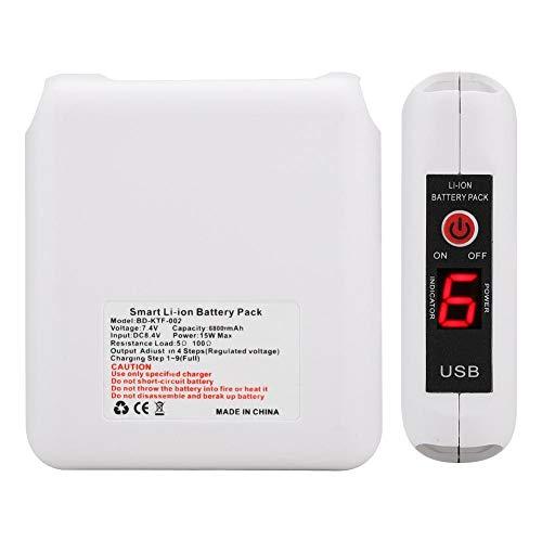 Kafuty Klimaanlage Service Batterie Mini 7,4 V Lüfter Tragbare Lithium-Batterie Elektrische Anzeige für Camping Reisen Radfahren Arbeiten Angeln(6800mAh)