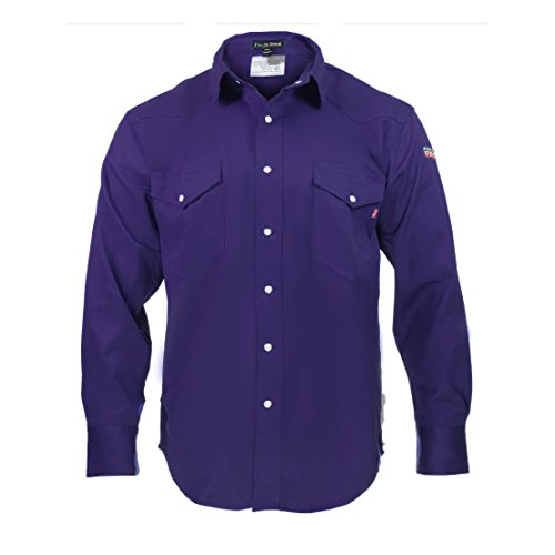 Flame Resistant FR Shirt - 100% C - Light Weight (Small, Navy Blue)