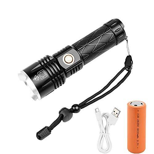 WINDFIRE Linterna LED, XHP90, recargable, LED superbrillante, 12000 lm, 5 modos de iluminación, zoomable, función de banco de potencia, LED Flashlight con batería 26650 para pesca, camping