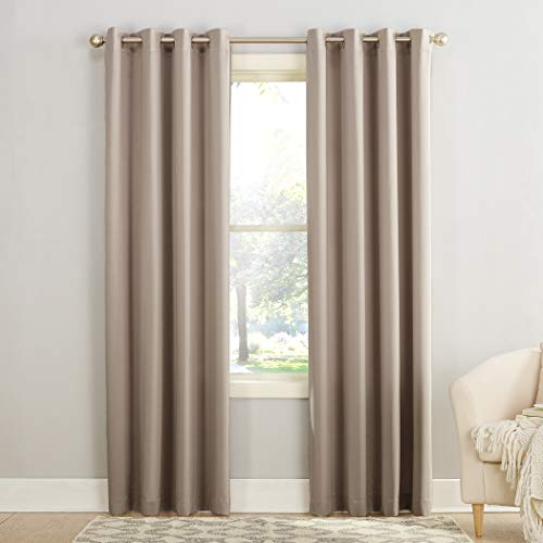 "Sun Zero Barrow Energy Efficient Grommet Curtain Panel,Stone Beige,54"" x 84"""