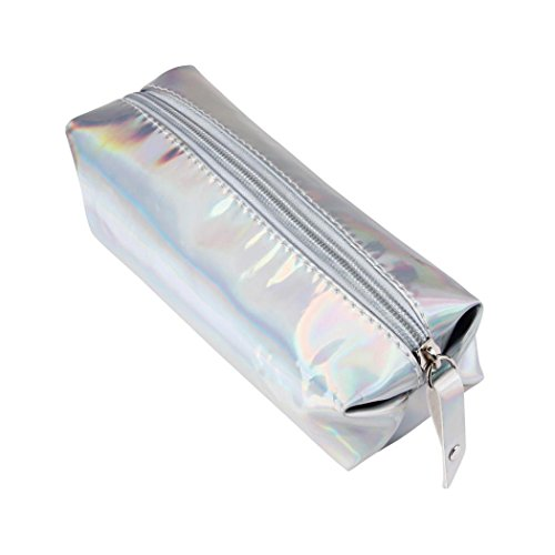 Trousses à maquillage, Internet Crayon et stylo Carré boîtes Fermeture éclair sac de rangement cosmétique 16 * 11 * 6CM (Argent)