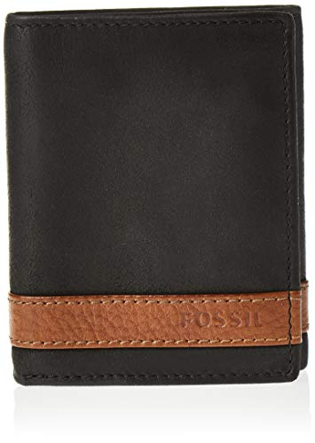 Fossil Men's Trifold, Quinn- Black, One Size