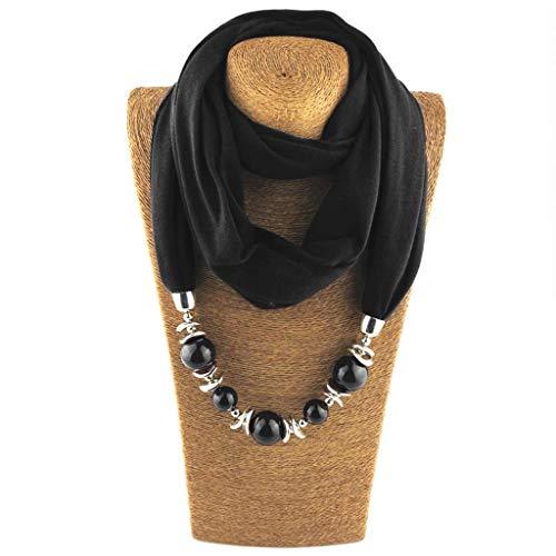 SimpleLife Womens Neckerchief Ring Scarf Necklaces Beads Scialle di Gioielli in Tinta Unita