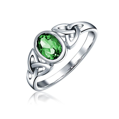 Friendship Triquetra Celtic Knot Promise Ring For Women For Teen Oval Kelly Green Simulated Emerald 925 Sterling Silver
