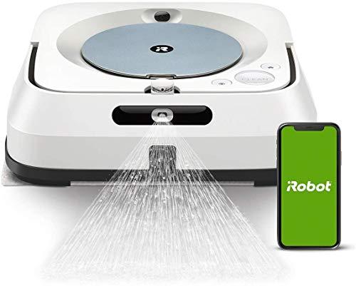 iRobot Braava Jet m6 (6134), Robot de lavado de cable WiFi, Spray jet de precisión, navegación inteligente, mapa del hogar, agua y lavado en seco, recarga automáticamente, controlable con la aplicación