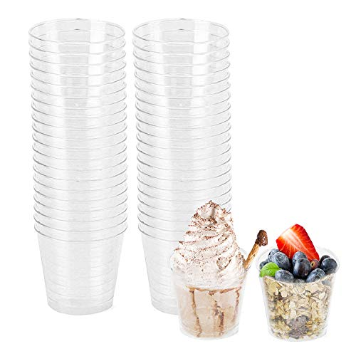 Fasmov 100 Pack 5 Oz Plastic Dessert Tumbler Cups Mousse Cups
