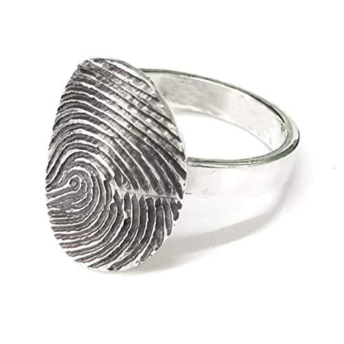 Anillo oval de plata personalizado con huella dactilar. Anillo de huella digital real - Texto personalizado - Anillo de compromiso