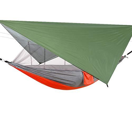 Sucastle Hamaca de camping con cremallera mosquitera y lona de paracaídas de nailon ultraligera de 300 kg de capacidad de carga transpirable de secado rápido para camping, senderismo, viajes al patio