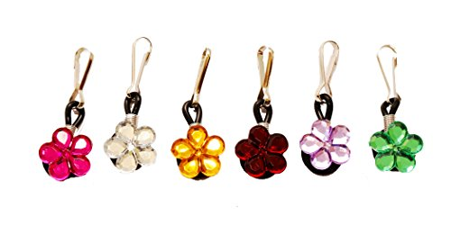 6 pcs Crystal Flowers Zipper Pull Charms for Jacket Backpack Bag...