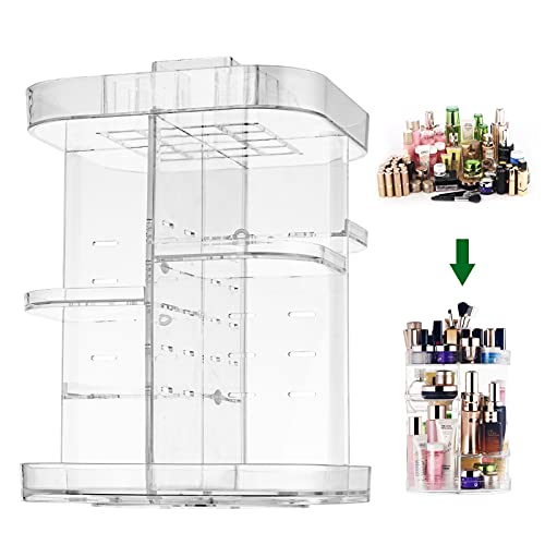 CONNOO 360 degree rotation square cosmetic storage Makeup Organizers, DIY Adjustable Carousel Spinning Storage Rack, Large Capacity Storage Unit, Fits Different Types of Cosmetics and Accessories