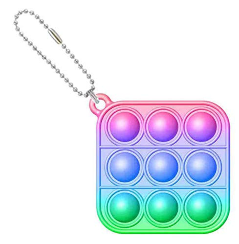 Mini Stress Relief Hand Toys Keychain, Simple Dimple Fidget Popper Toys, Bubble Wrap Pop Anxiety Stress Reliever Office Desk Toy for Kids Adults (Colorful Square)
