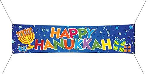 Zion Judaica Happy Hanukkah Jumbo Vinyl Sign Banner with Hanging Loops 72''