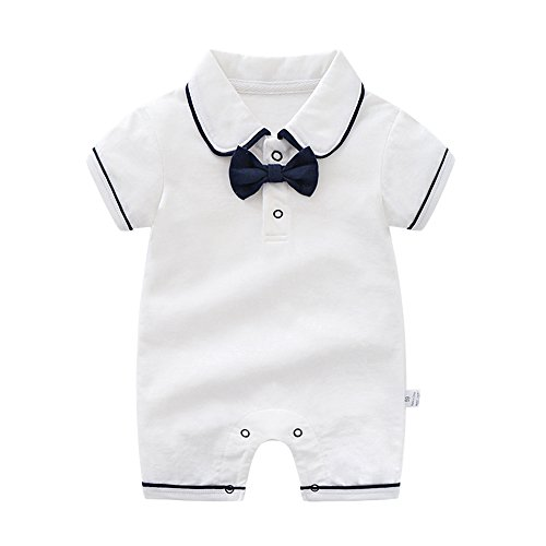 Anywow Neugeborenen Baby Jungen Mädchen Formale Bowtie Kragen Strampler Kurzen Ärmeln Polo Body Overall
