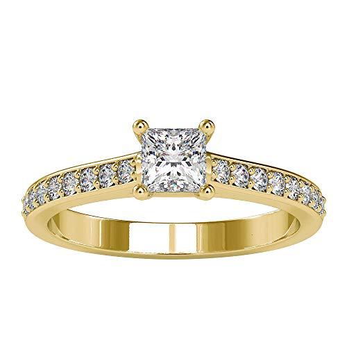 Rosec Jewels 18k Yellow-oro. Prinzessin Zeiger Runde Diamond