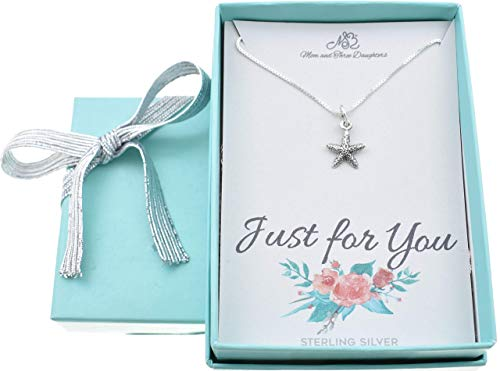 Starfish Necklace in Sterling Silver   14 Inch Box Chain   Ocean Necklace   Fabulous Gift for Child, Little Girls