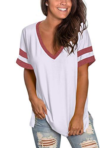 Women Plus Size Tops Stripes Raglan…