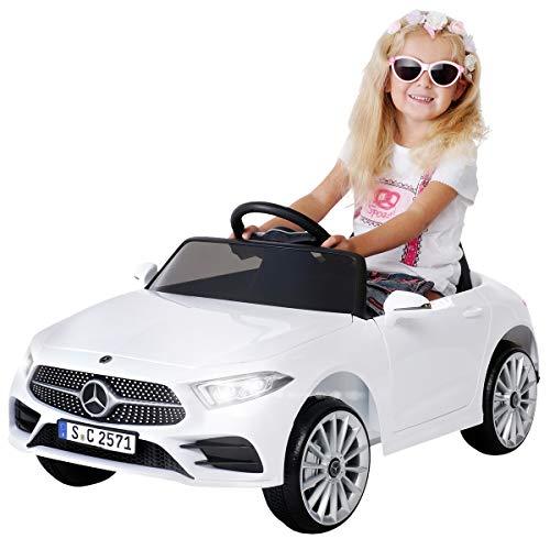 Actionbikes Motors Kinder Elektroauto Mercedes Benz CLS 350 - Lizenziert - Rc 2,4 Ghz Fernbedienung - Led - Soundmodul - Elektro Auto für Kinder ab 3 Jahre - Kinderauto Spielzeug (Weiß)