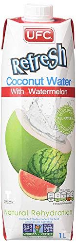 100% natürliches Kokoswasser mit Wassermelone 1L x 6   UFC Refresh   Natürlich feuchtigkeitsspendend Mit Elektrolyten verpackt Glutenfrei   Voller Vitamin C & Kalium, Umgebungslagerung 1L x6